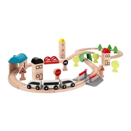 Железная дорога IKEA LILLABO комплект из 45 предметов поезд и рельсы 203.300.66