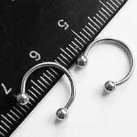 Подковы, полукольца для пирсинга: диаметр 10 мм, толщина 1.2 мм, диаметр шариков 3 мм. Сталь 316L.