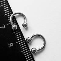 Подковы, полукольца для пирсинга: диаметр 6 мм, толщина 1.2 мм, диаметр шариков 3 мм. Сталь 316L.