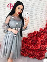 Красивое женское серое платье фатин с аппликацией