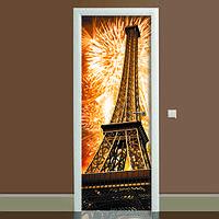 Наклейка на дверь Эйфелева башня 02, (полноцветная фотопечать, пленка для двери)