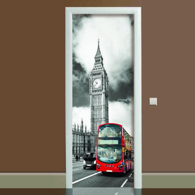 Наклейка на дверь Лондон, (полноцветная фотопечать, пленка для двери)