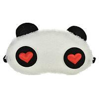 """Маска для сна """"Панда"""" меховая ткань, размер для девушек, 100% защита от света (влюбленные глазки)"""
