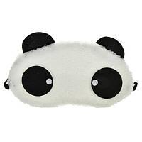 """Маска для сна """"Панда"""" меховая ткань, размер для девушек, 100% защита от света (глаза с точечками)"""