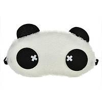 """Маска для сна """"Панда"""" меховая ткань, размер для девушек, 100% защита от света (глаза с крестиками)"""