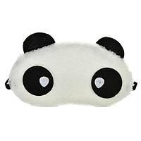 """Маска для сна """"Панда"""" меховая ткань, размер для девушек, 100% защита от света (глаза с капельками)"""