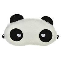 """Маска для сна """"Панда"""" меховая ткань, размер для девушек, 100% защита от света (глаза с сердечками)"""