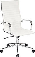 Кресло офисное Алабама НNEW, механизм качания, хром, высокая спинка, цвет белый