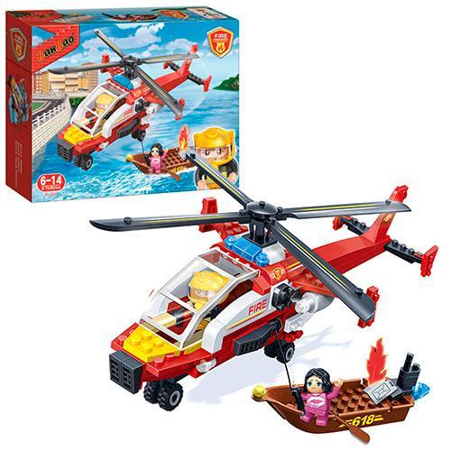 Конструктор BANBAO 7107  пожарный вертолет, лодка, фигурки 2шт, 191дет