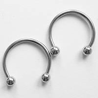 Подковы, полукольца для пирсинга: диаметр 12 мм, толщина 1.2 мм, диаметр шариков 3 мм. Сталь 316L., фото 1