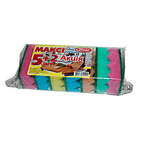 Губки для мытья посуды Vivat Макси 5+2 (рифленая поверхность)