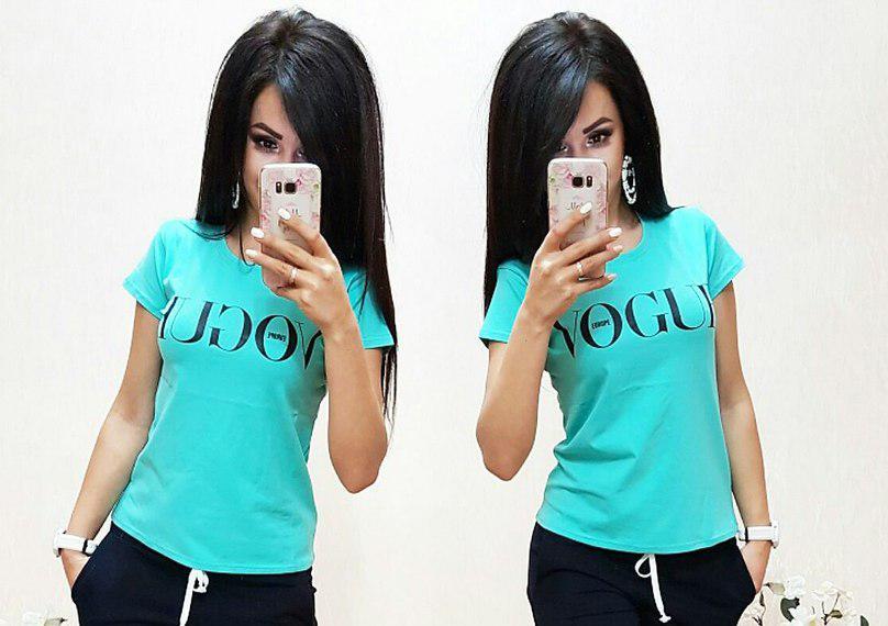 Стильная футболка VOGUE, размеры S M L XL 2ХЛ 3ХЛ Турция