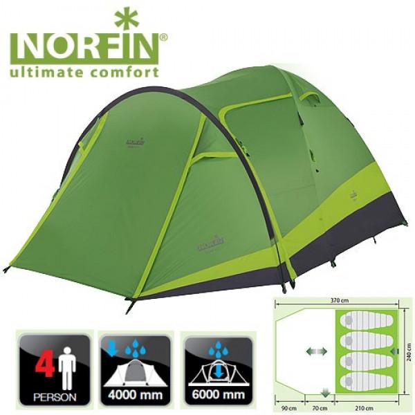 Палатка кемпинговая 4-х местная Norfin RUDD 3+1 NF