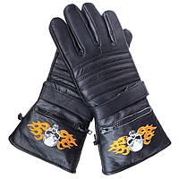 """Мужские кожаные полнопалые мотоперчатки XG1231 с гелиевым наполнителем с вышивкой """"Череп и пламя"""""""