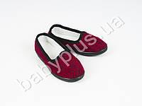 Туфли детские трикотажные на литой подошве из ПВХ. Цвет-красный. Длина стельки 19 см.