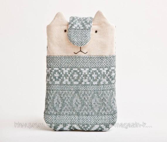 Чехол для смартфона iphone ручной работы кот зеленый узор под свитер ткань
