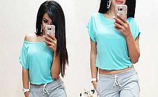 Стильная однотонная футболка, топ , размеры S M Турция, фото 3
