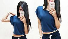 Стильная однотонная футболка, топ , размеры S M Турция, фото 2