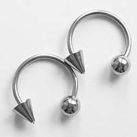 Подкова, диаметр 10 мм, для украшения пирсинга (шарик 4 мм+ конус 4 мм) из медицинской стали., фото 1