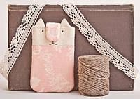 Чехол ручной работы для мобильного телефона и iphone кот розовый с цветами ткань