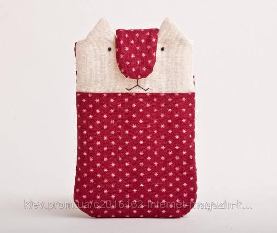 Чехол ручной работы для мобильного телефона и iphone кот красный с белыми звездами ткань