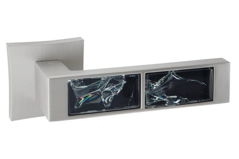 Дверная ручка ORO&ORO BLACK GLASS 203-13E MSN перламутровий никель