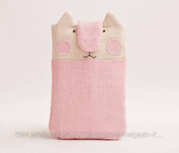Чехол ручной работы для айфон 7 кот розовый ткань