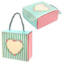 """Пакет подарочный бумажный """"Thanks"""" 9.5х9.5х4.5см, 12 штук в упаковке, с ручками, пакет для подарка, картонный пакет сувенирный, картонный подарочный"""