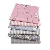 Набор тканей (Ткань) Розово-серые оттенки для Пэчворка 40x50 см 6 шт, фото 1