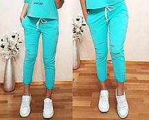 Стильные и модные штаны 7/8 с разрезами. Размеры от 38 до 56, Турция, фото 3
