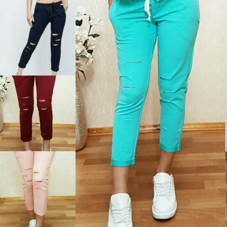 Стильные и модные штаны 7/8 с разрезами. Размеры от 38 до 56, Турция