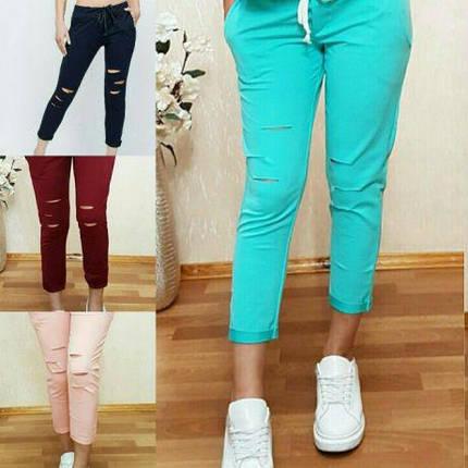 Стильные и модные штаны 7/8 с разрезами. Размеры от 38 до 56, Турция, фото 2
