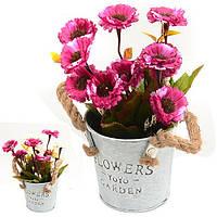 """Композиція зі штучних квітів """"Ромашки в відерці"""" R21158 пластик / поліестер, 20 см, Штучні квіти, Декор"""
