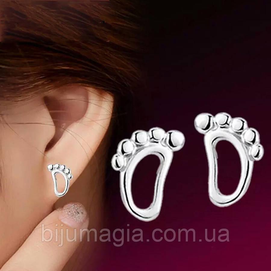 Сережки гвоздики ювелірна біжутерія сріблення 2535