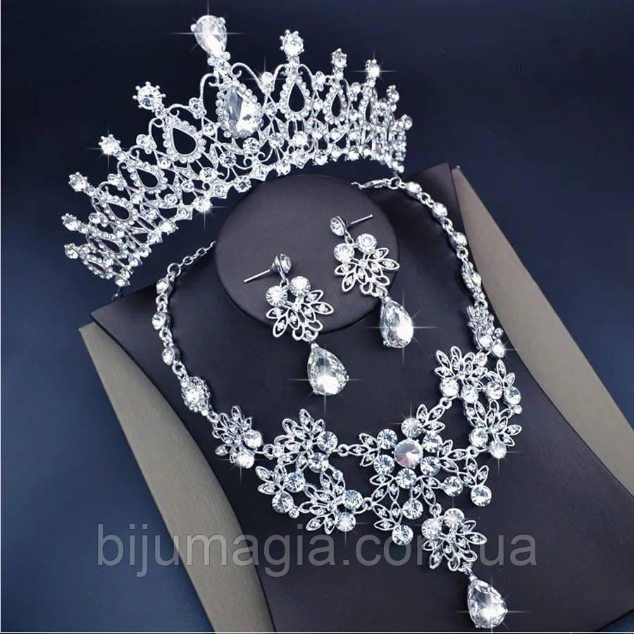Весільний набір ювелірна біжутерія сріблення 47115с