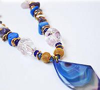 Стильный кулон в подарок на 8 марта девушке из натурального камня Агат