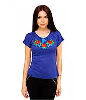 Вишиванка жіноча. Футболка синього кольору з вишивкою. Вишиті футболки жіночі.