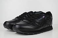 Мужские кроссовки Reebok Classic 1983 черные полностью кожа Топ Реплика Хорошего качества