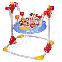 Прыгунок мягкое кресло - поворот на 360 градусов, регулируется высота, музыка, звук, подвижные детали, MP3, голубой