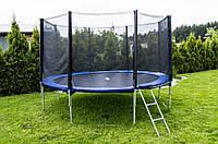 Батут Funfit диаметром 374см (12ft) для детей спортивный с лестницей и внешней сеткой