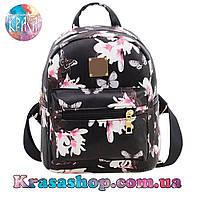 Рюкзак женский чёрный с цветочками