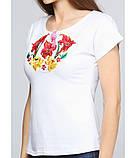 Біла вишита сорочка. Футболка з машинною вишивкою. Якісні вишиті футболки. Сорочки жіночі., фото 2