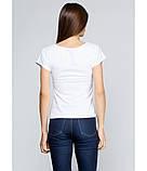 Біла вишита сорочка. Футболка з машинною вишивкою. Якісні вишиті футболки. Сорочки жіночі., фото 3