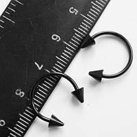 Подкова для пирсинга, диаметр 12 мм с конусами 4 мм. Сталь 316L, титановое покрытие., фото 1
