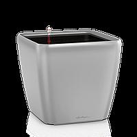 Вазон с кашпо и гидросистемой Quadro LS 35 серебристый отлив