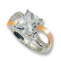 Кольцо из серебра с золотыми вставками, модель 061
