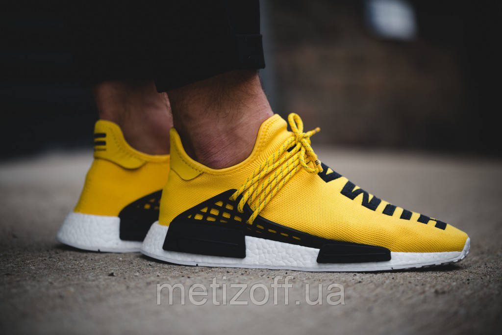 Мужские Кроссовки ADIDAS ORIGINALS × PHARRELL WILLIAMS NMD HUMAN RACE  YELLOW, фото 1 b14d3390591