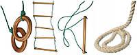 Веревочный набор для детской площадки: гимнастические кольца, веревочная лестница, канат, трапеция ТМ TopTop