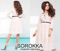 Платье-рубашка с поясом креп-костюмка 42,44,46,48, фото 1