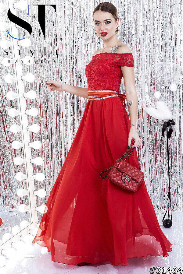 Вечернее  платье в пол, украшено стразами на поясе / 8 цветов арт 5148-98